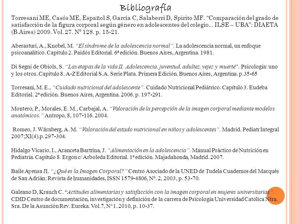 Bibliografía Torresani ME, Casós ME, Español S, García C, Salaberri D, Spirito MF. Comparación del grado de satisfacción de la figura corporal según g
