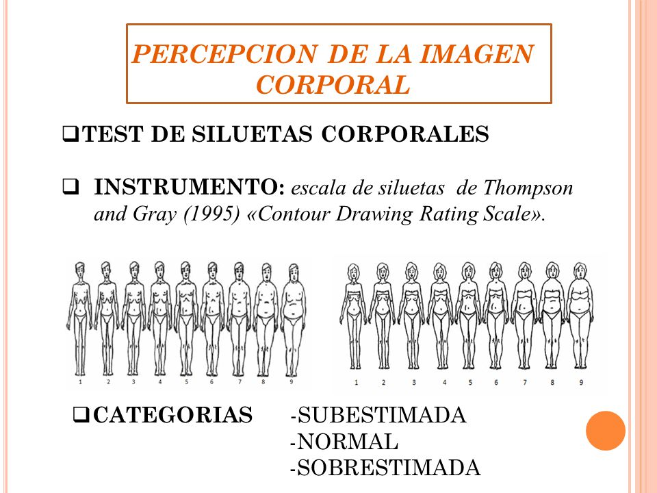 PERCEPCION DE LA IMAGEN CORPORAL TEST DE SILUETAS CORPORALES INSTRUMENTO: escala de siluetas de Thompson and Gray (1995) «Contour Drawing Rating Scale