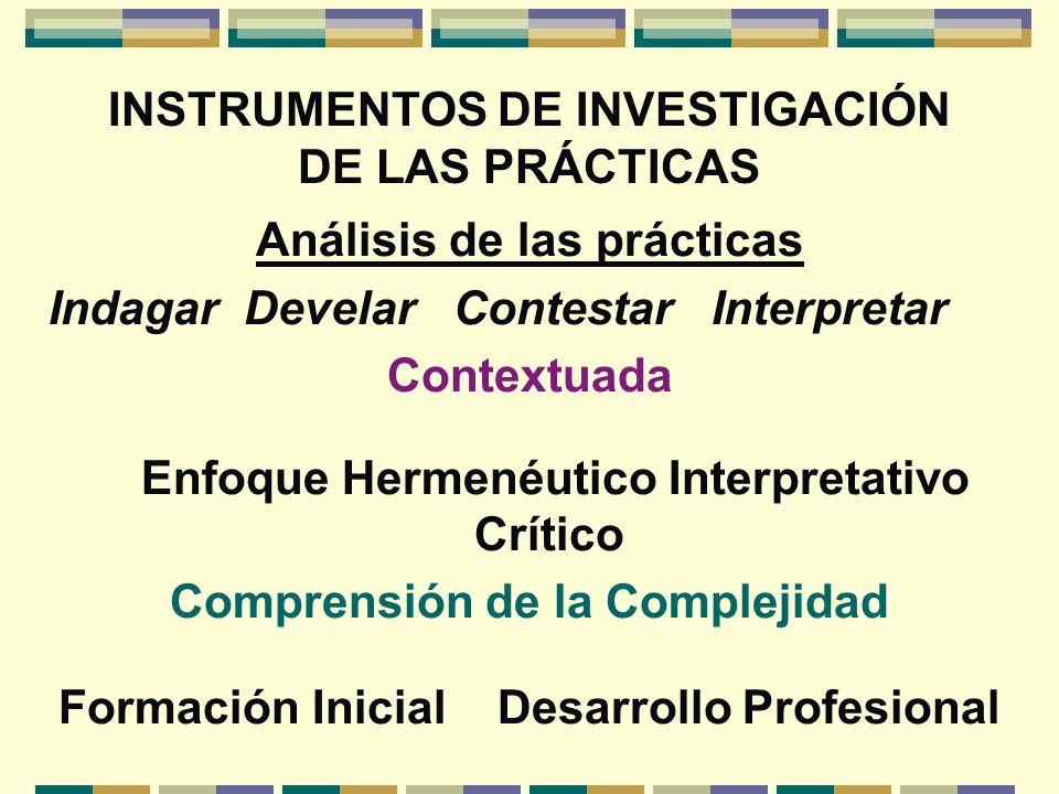 INSTRUMENTOS DE INVESTIGACIÓN DE LAS PRÁCTICAS Análisis de las prácticas Indagar Develar Contestar Interpretar Contextuada Enfoque Hermenéutico Interp