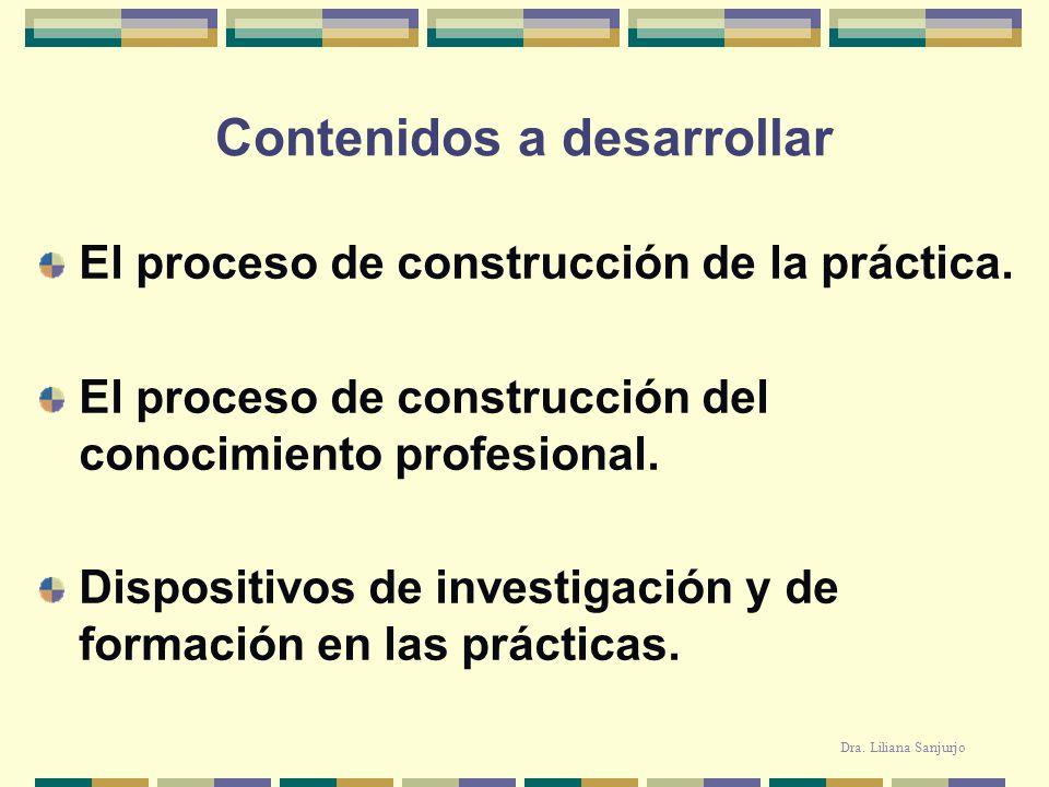 Contenidos a desarrollar El proceso de construcción de la práctica. El proceso de construcción del conocimiento profesional. Dispositivos de investiga
