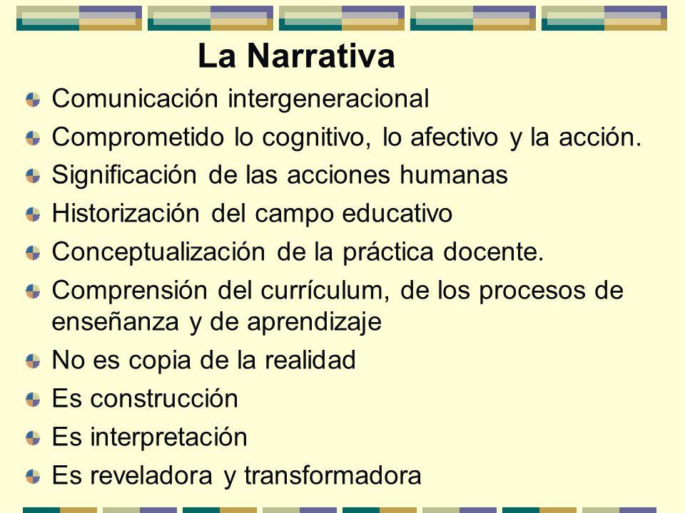 La Narrativa Comunicación intergeneracional Comprometido lo cognitivo, lo afectivo y la acción. Significación de las acciones humanas Historización de