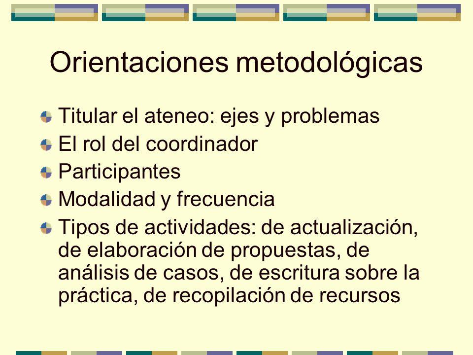 Orientaciones metodológicas Titular el ateneo: ejes y problemas El rol del coordinador Participantes Modalidad y frecuencia Tipos de actividades: de a