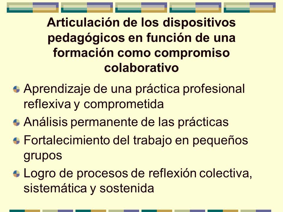 Articulación de los dispositivos pedagógicos en función de una formación como compromiso colaborativo Aprendizaje de una práctica profesional reflexiv