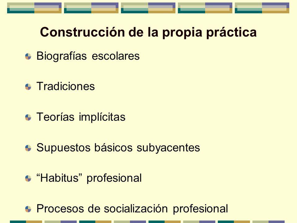 Construcción de la propia práctica Biografías escolares Tradiciones Teorías implícitas Supuestos básicos subyacentes Habitus profesional Procesos de s