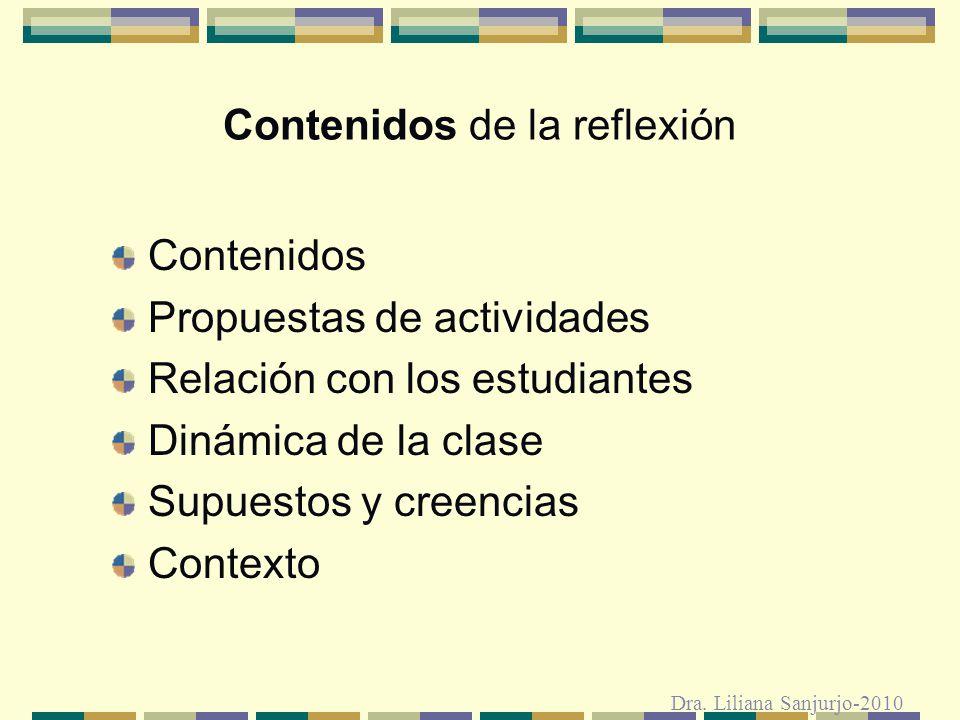 Es necesario pasar de: reflexión esporádica práctica reflexiva trabajo sobre el habitus contra-esquemas Dra.