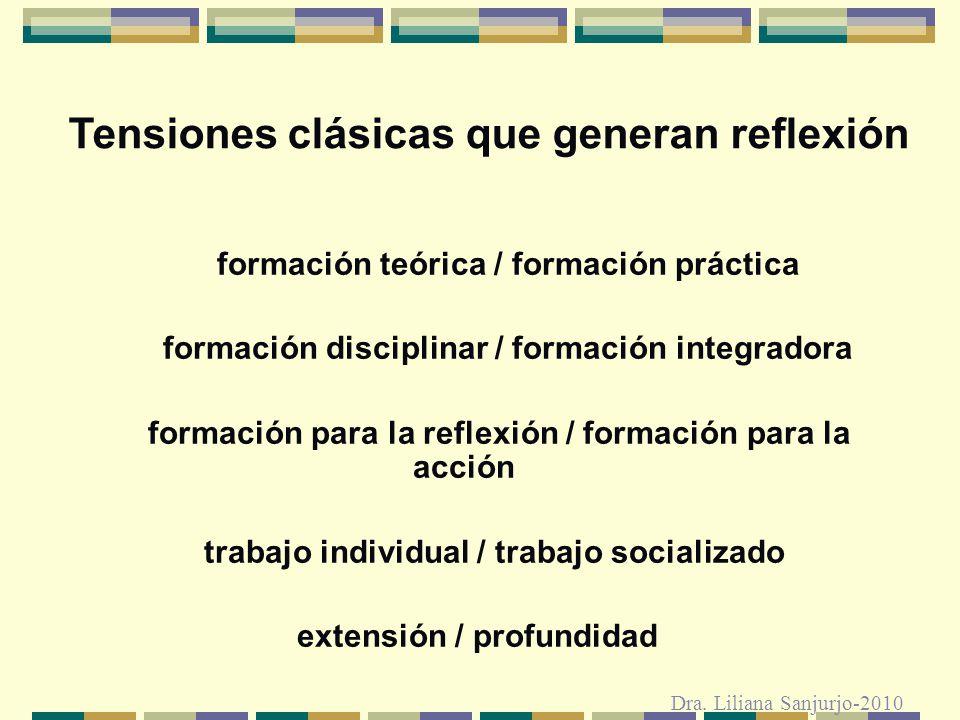 Tensiones clásicas que generan reflexión formación teórica / formación práctica formación disciplinar / formación integradora formación para la reflex