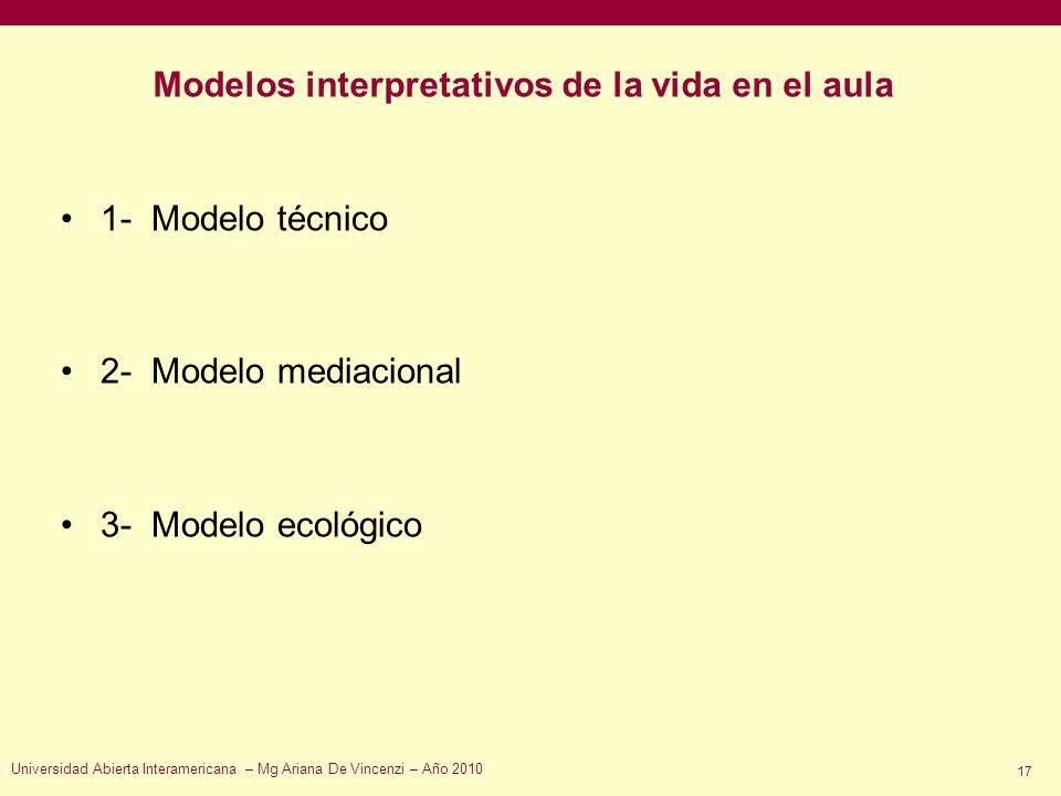 Modelos interpretativos de la vida en el aula 1- Modelo técnico 2- Modelo mediacional 3- Modelo ecológico Universidad Abierta Interamericana – Mg Aria
