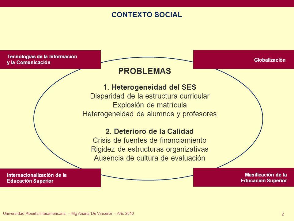 2 PROBLEMAS Tecnologías de la Información y la Comunicación Globalización Masificación de la Educación Superior Internacionalización de la Educación S