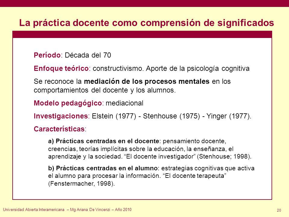 La práctica docente como comprensión de significados Universidad Abierta Interamericana – Mg Ariana De Vincenzi – Año 2010 20 Período: Década del 70 E