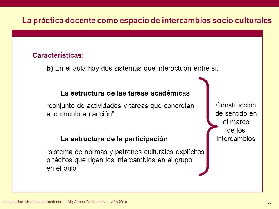 La práctica docente como espacio de intercambios socio culturales Universidad Abierta Interamericana – Mg Ariana De Vincenzi – Año 2010 22 Característ