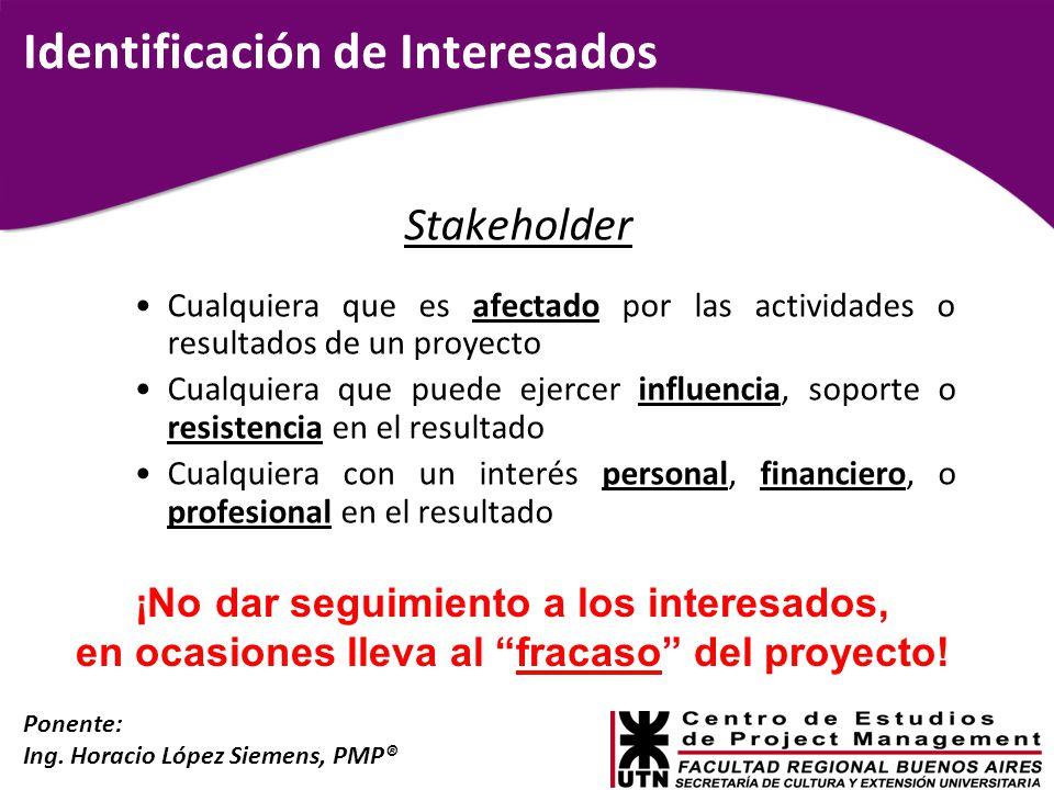 Ponente: Ing. Horacio López Siemens, PMP® Identificación de Interesados Stakeholder Cualquiera que es afectado por las actividades o resultados de un