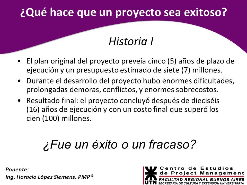 Ponente: Ing. Horacio López Siemens, PMP® ¿Qué hace que un proyecto sea exitoso? El plan original del proyecto preveía cinco (5) años de plazo de ejec