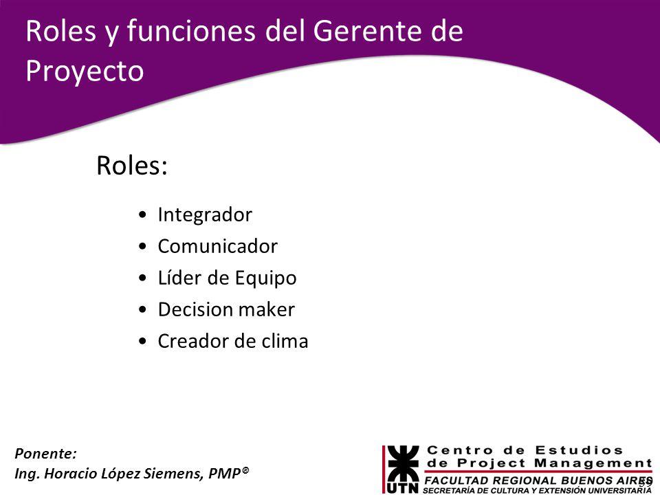 Ponente: Ing. Horacio López Siemens, PMP® Roles y funciones del Gerente de Proyecto Roles: Integrador Comunicador Líder de Equipo Decision maker Cread