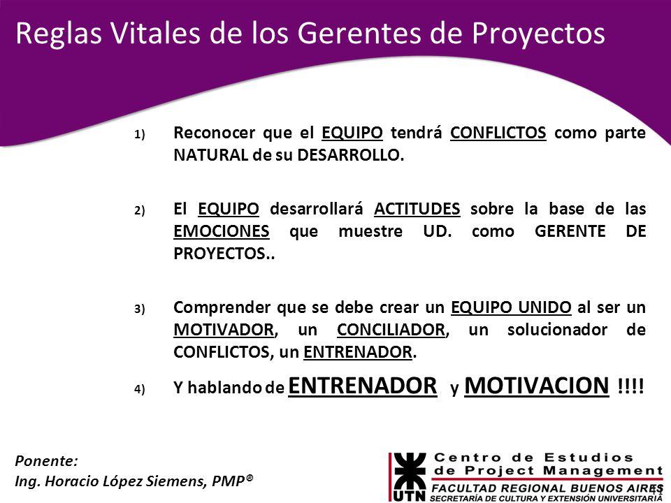 Ponente: Ing. Horacio López Siemens, PMP® Reglas Vitales de los Gerentes de Proyectos 1) Reconocer que el EQUIPO tendrá CONFLICTOS como parte NATURAL