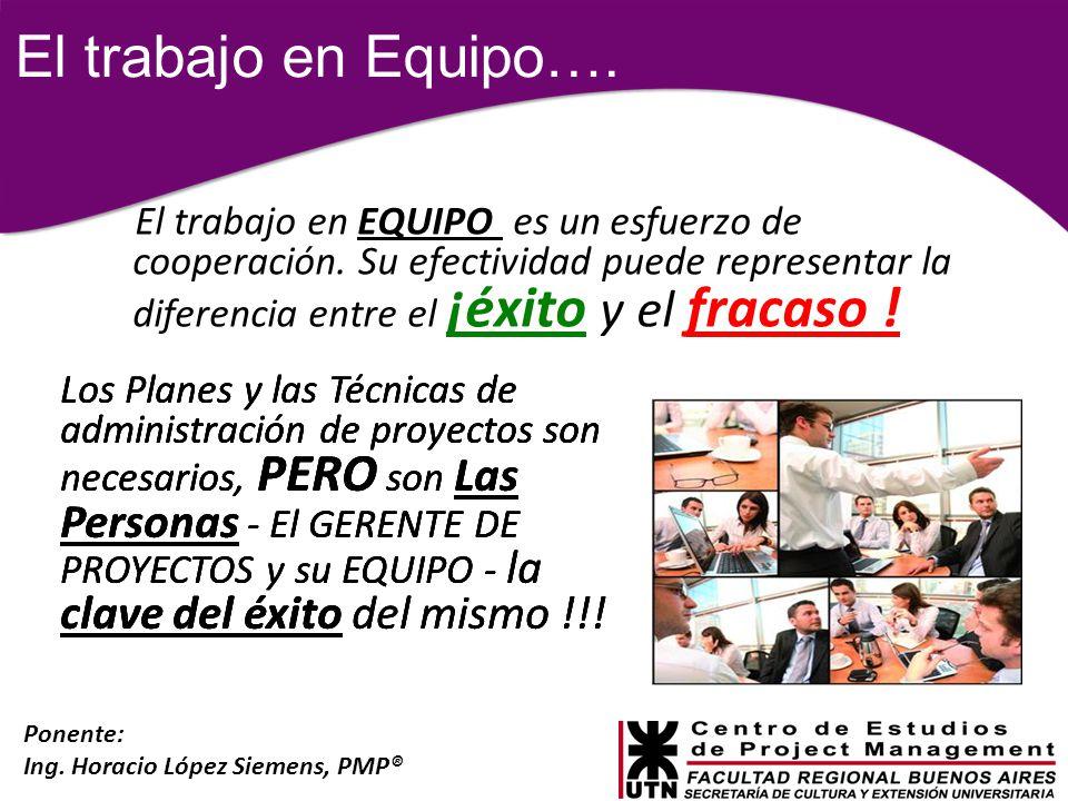 Ponente: Ing. Horacio López Siemens, PMP® El trabajo en EQUIPO es un esfuerzo de cooperación. Su efectividad puede representar la diferencia entre el