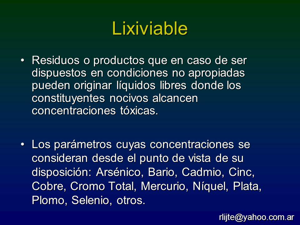 Lixiviable Residuos o productos que en caso de ser dispuestos en condiciones no apropiadas pueden originar líquidos libres donde los constituyentes no