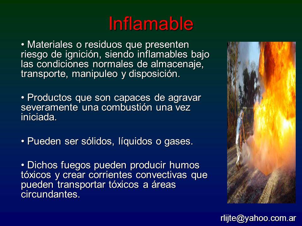 Inflamable Materiales o residuos que presenten riesgo de ignición, siendo inflamables bajo las condiciones normales de almacenaje, transporte, manipul