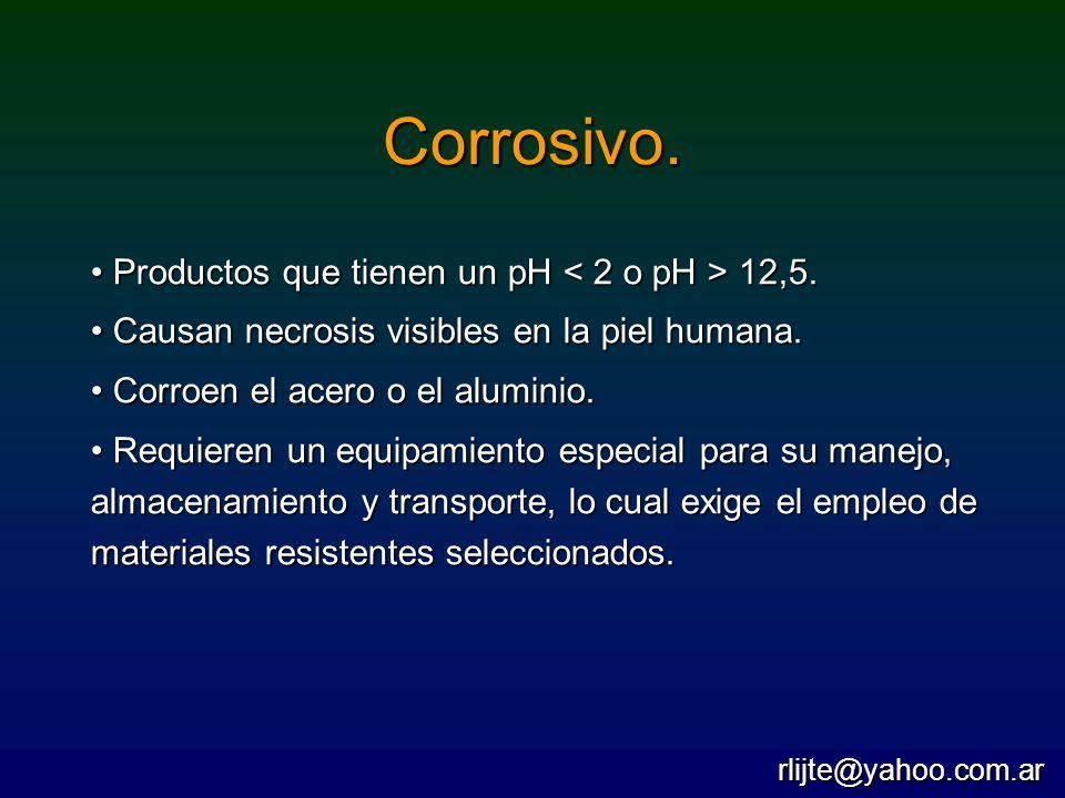 Corrosivo. Productos que tienen un pH 12,5. Productos que tienen un pH 12,5. Causan necrosis visibles en la piel humana. Causan necrosis visibles en l