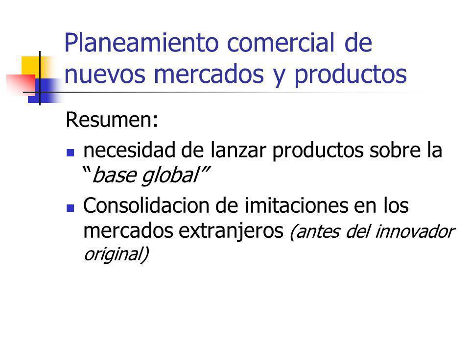 Planeamiento comercial de nuevos mercados y productos Resumen: necesidad de lanzar productos sobre labase global Consolidacion de imitaciones en los m