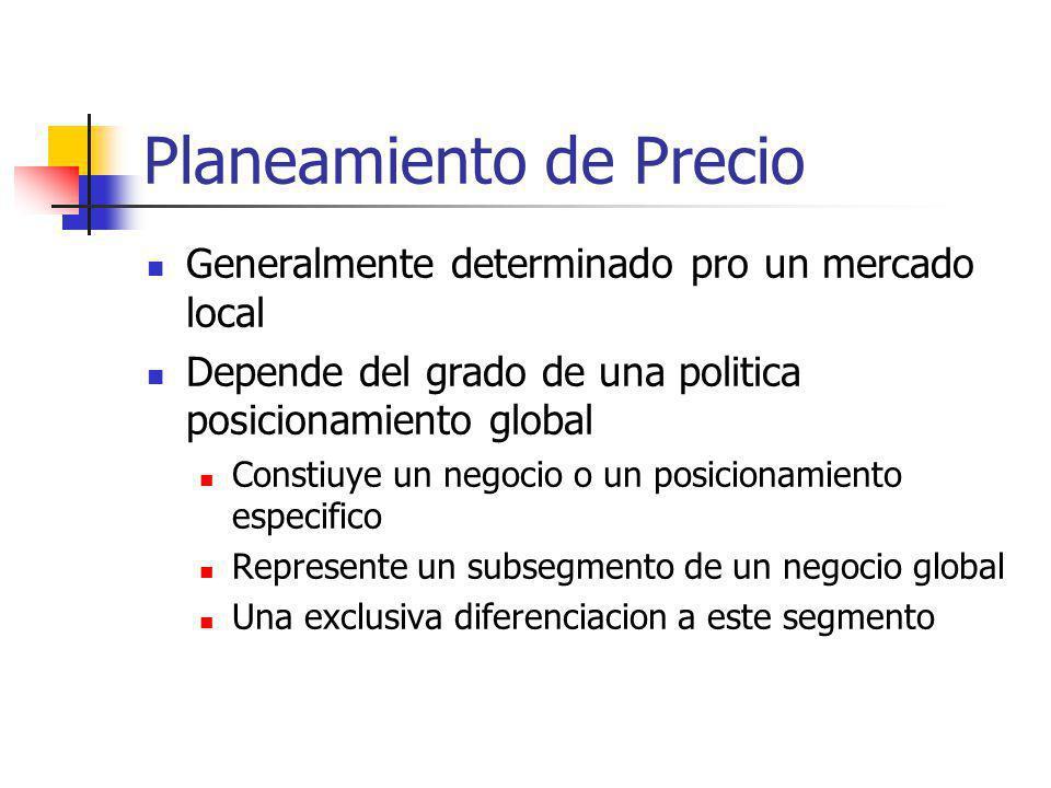 Planeamiento de Precio Generalmente determinado pro un mercado local Depende del grado de una politica posicionamiento global Constiuye un negocio o u