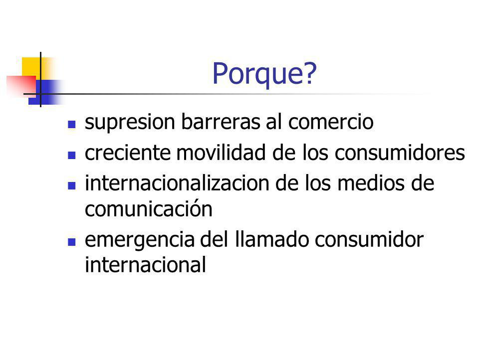 Porque? supresion barreras al comercio creciente movilidad de los consumidores internacionalizacion de los medios de comunicación emergencia del llama