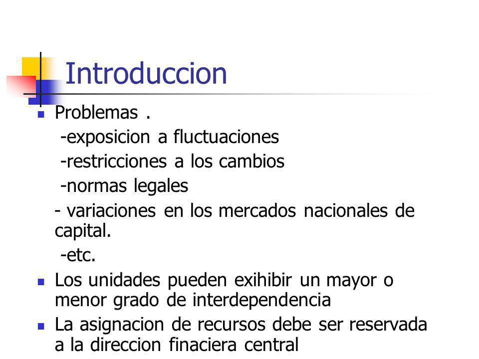 Introduccion Problemas. -exposicion a fluctuaciones -restricciones a los cambios -normas legales - variaciones en los mercados nacionales de capital.
