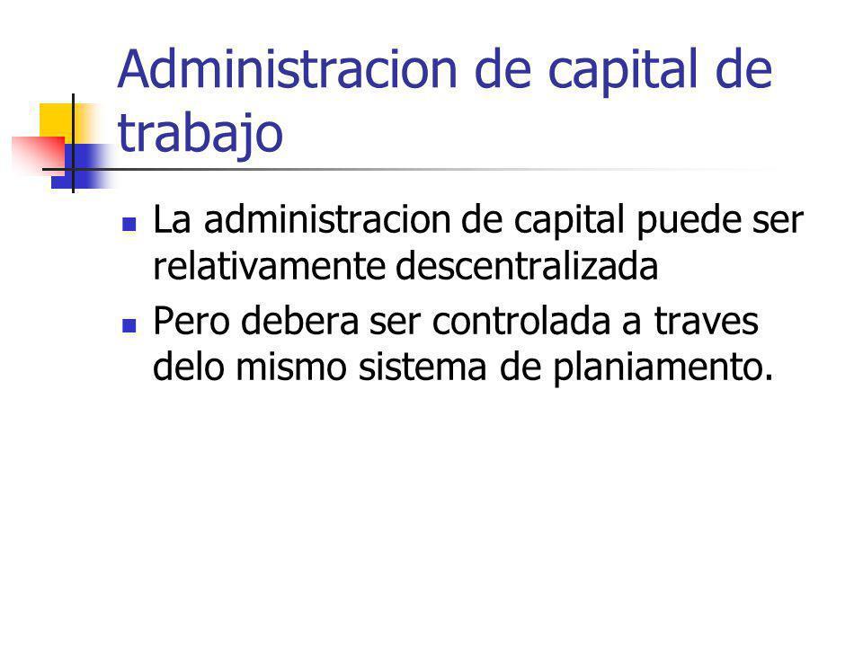 Administracion de capital de trabajo La administracion de capital puede ser relativamente descentralizada Pero debera ser controlada a traves delo mis