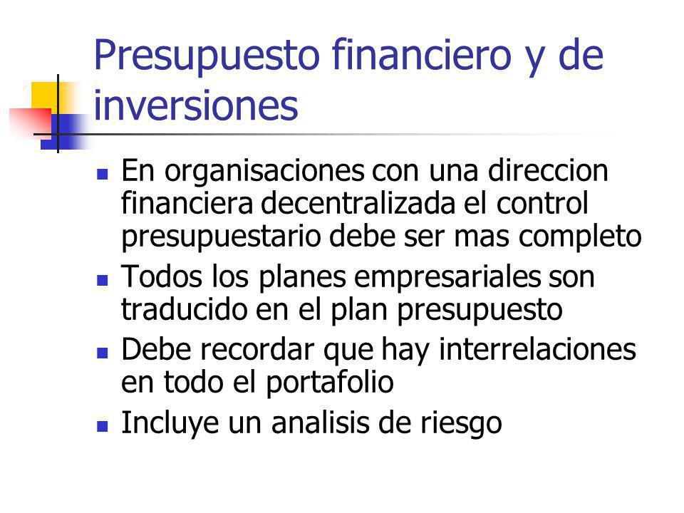 Presupuesto financiero y de inversiones En organisaciones con una direccion financiera decentralizada el control presupuestario debe ser mas completo