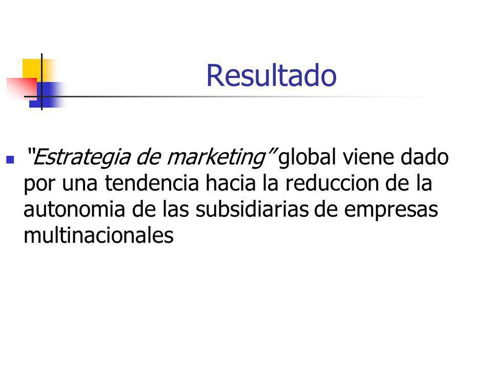 Resultado Estrategia de marketing global viene dado por una tendencia hacia la reduccion de la autonomia de las subsidiarias de empresas multinacional