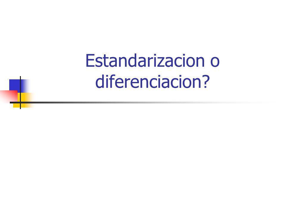 Estandarizacion (ventajas) resulta en economias de escala (produccion y marketing) reduce la immovilizacion de inventarios facilita acceso a fuentes de abastecimiento internacionales transferencia de precios acelera el retorno distribui los riesgos (mercado mas amplio)