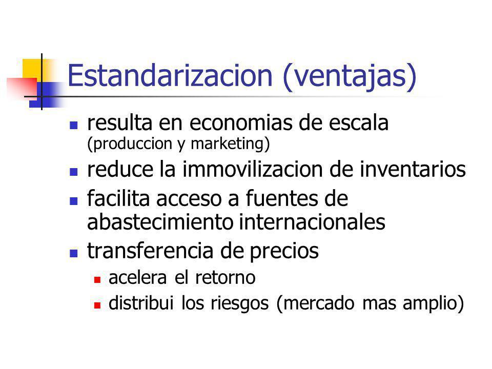 Estandarizacion (ventajas) resulta en economias de escala (produccion y marketing) reduce la immovilizacion de inventarios facilita acceso a fuentes d