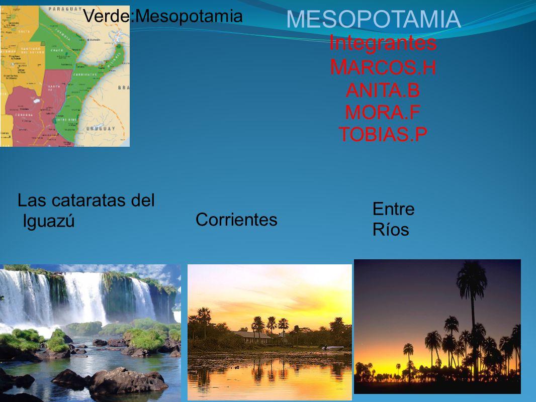 MESOPOTAMIA Integrantes M ARCOS.H ANITA.B MORA.F TOBIAS.P Las cataratas del Iguazú Entre Ríos Corrientes Verde:Mesopotamia