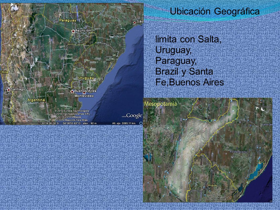 Ubicación Geográfica limita con Salta, Uruguay, Paraguay, Brazil y Santa Fe,Buenos Aires
