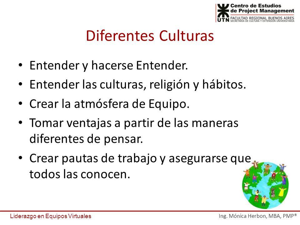 Diferentes Culturas Entender y hacerse Entender. Entender las culturas, religión y hábitos. Crear la atmósfera de Equipo. Tomar ventajas a partir de l
