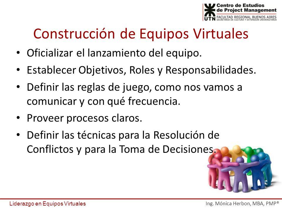 Construcción de Equipos Virtuales Oficializar el lanzamiento del equipo. Establecer Objetivos, Roles y Responsabilidades. Definir las reglas de juego,