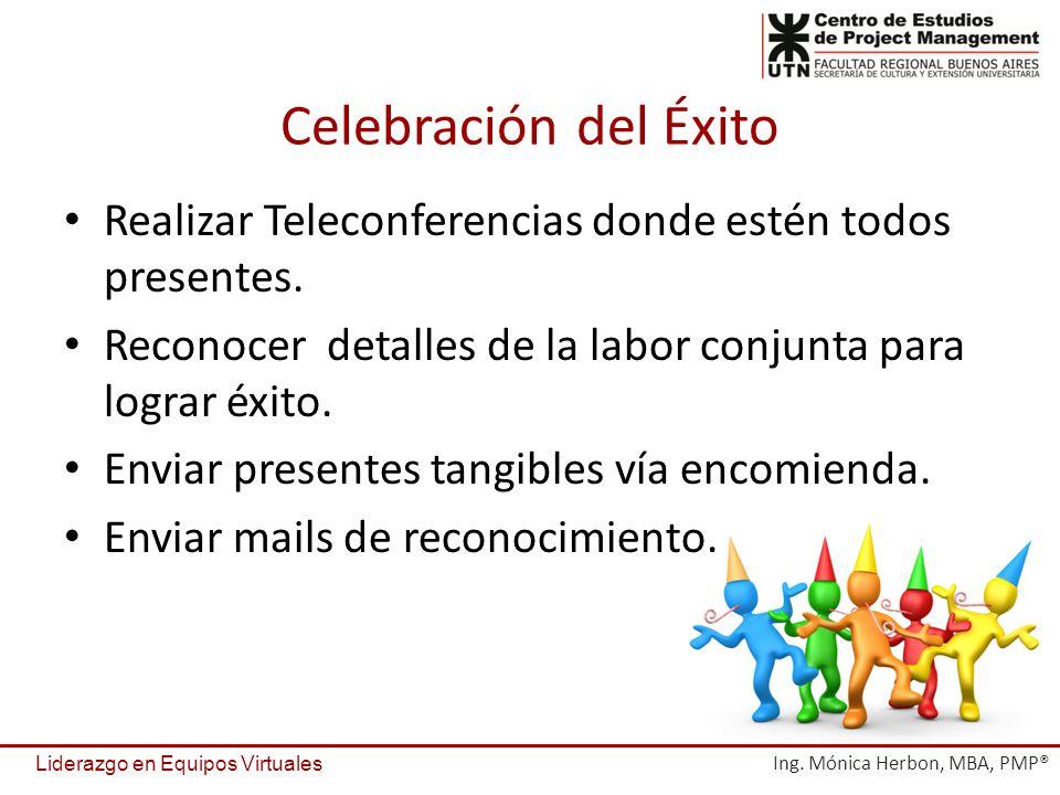 Celebración del Éxito Realizar Teleconferencias donde estén todos presentes. Reconocer detalles de la labor conjunta para lograr éxito. Enviar present
