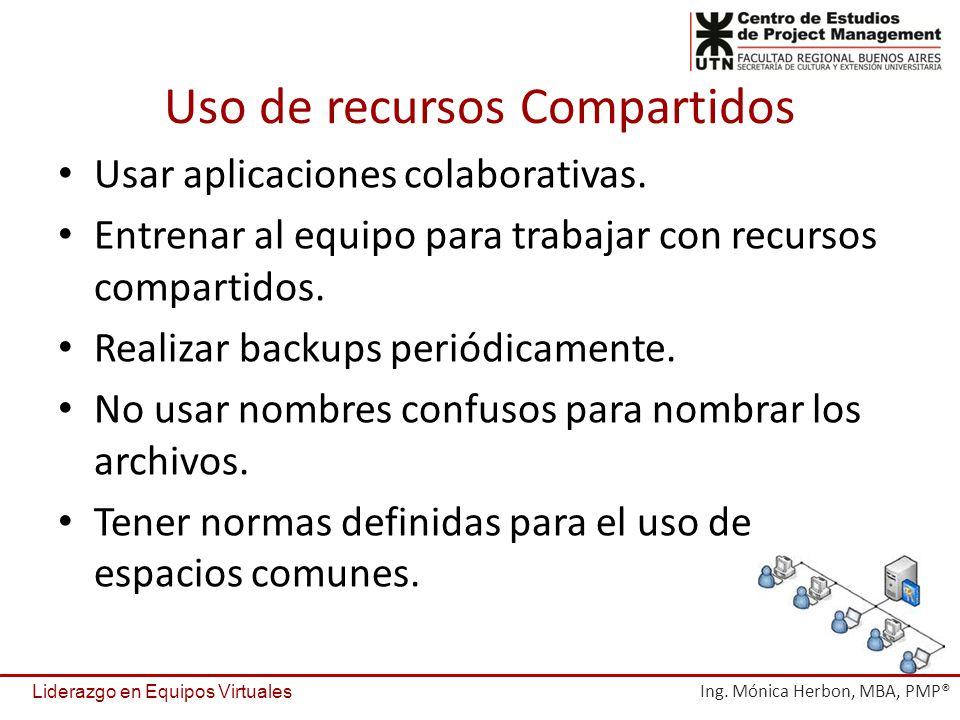 Uso de recursos Compartidos Usar aplicaciones colaborativas. Entrenar al equipo para trabajar con recursos compartidos. Realizar backups periódicament