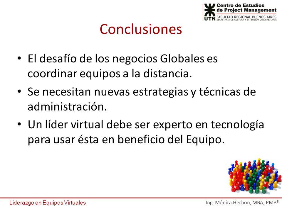 Conclusiones El desafío de los negocios Globales es coordinar equipos a la distancia. Se necesitan nuevas estrategias y técnicas de administración. Un