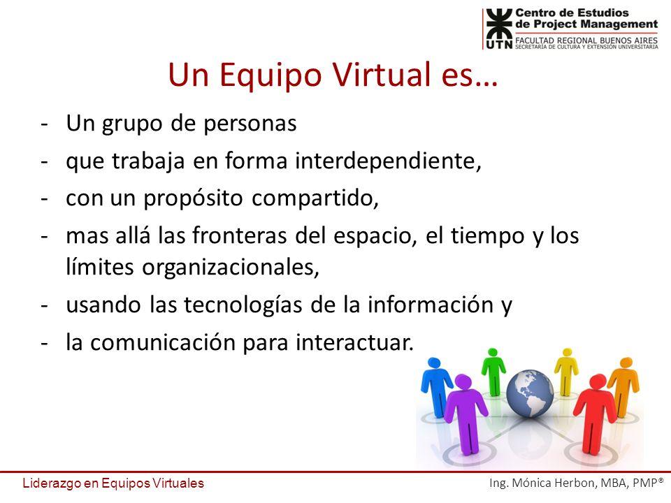 -Un grupo de personas -que trabaja en forma interdependiente, -con un propósito compartido, -mas allá las fronteras del espacio, el tiempo y los límites organizacionales, -usando las tecnologías de la información y -la comunicación para interactuar.