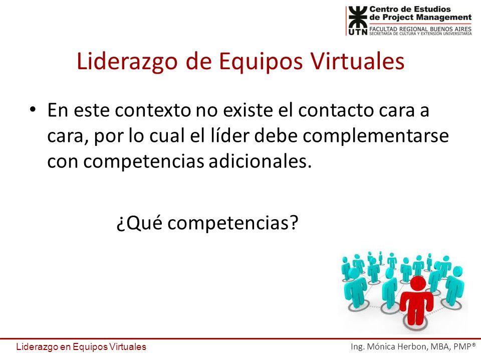 Liderazgo de Equipos Virtuales En este contexto no existe el contacto cara a cara, por lo cual el líder debe complementarse con competencias adicional