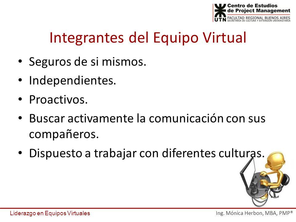 Integrantes del Equipo Virtual Seguros de si mismos. Independientes. Proactivos. Buscar activamente la comunicación con sus compañeros. Dispuesto a tr