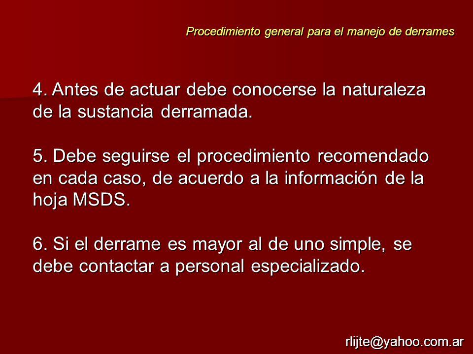 4. Antes de actuar debe conocerse la naturaleza de la sustancia derramada. 5. Debe seguirse el procedimiento recomendado en cada caso, de acuerdo a la