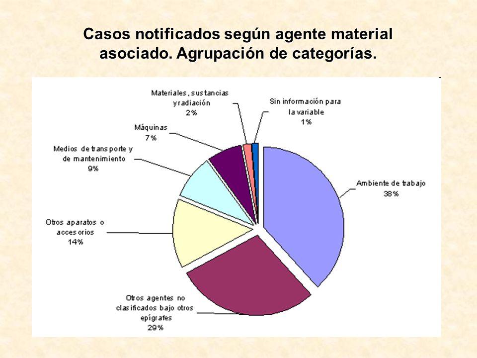 Casos notificados según agente material asociado. Agrupación de categorías.