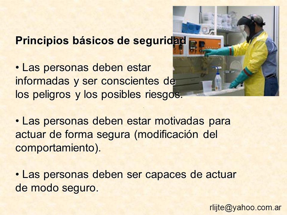 Principios básicos de seguridad Las personas deben estar Las personas deben estar informadas y ser conscientes de los peligros y los posibles riesgos.