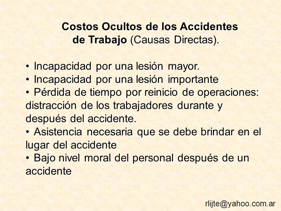 Costos Ocultos de los Accidentes de Trabajo (Causas Directas).