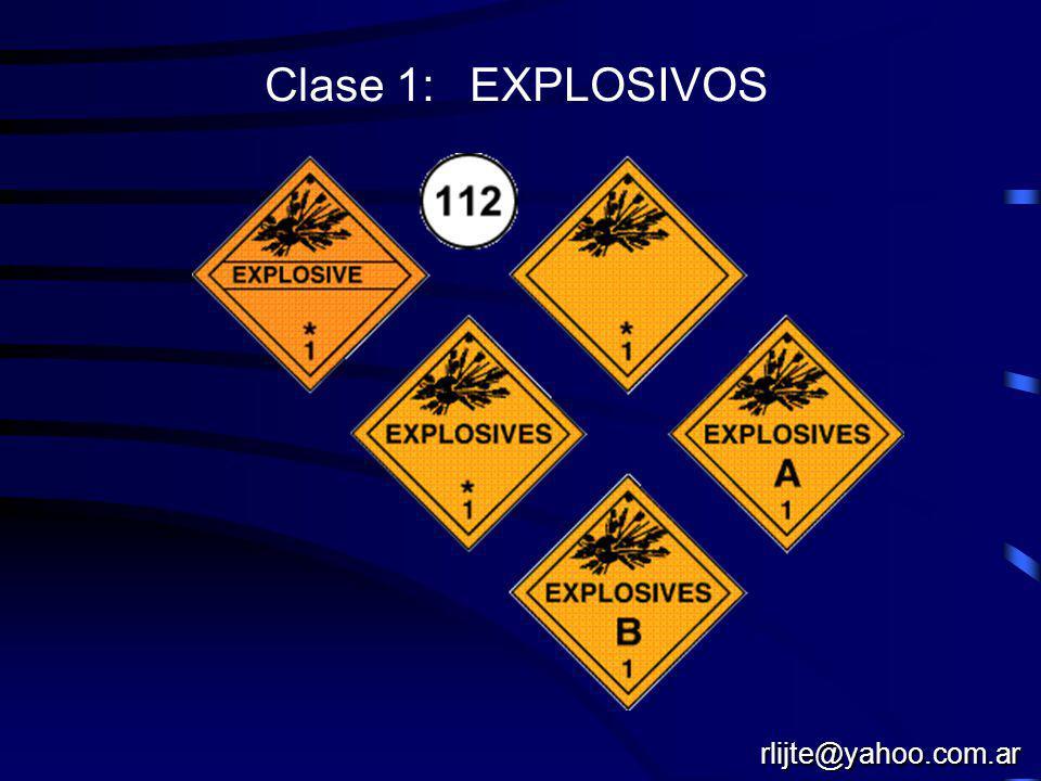 Naciones Unidas identificación general Clase 1: EXPLOSIVOS Clase 2: GASES Clase 3:LIQUIDOS INFLMAMABLES Clase 4: SOLIDOS INFLAMABLES Clase 5: OXIDANTES Clase 6: TOXICOS - INFECCIOSOS Clase 7: RADIOACTIVOS Clase 8: CORROSIVOS Clase 9: MISCELANEOS rlijte@yahoo.com.ar