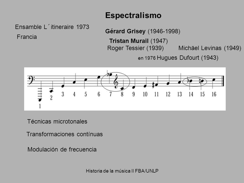 Historia de la música II FBA/UNLP Tristan Murail (1947) Gérard Grisey (1946-1998) Ensamble L´itineraire 1973 Espectralismo Técnicas microtonales Modul