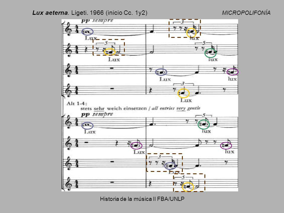 Historia de la música II FBA/UNLP Lux aeterna. Ligeti. 1966 (inicio Cc. 1y2) MICROPOLIFONÍA