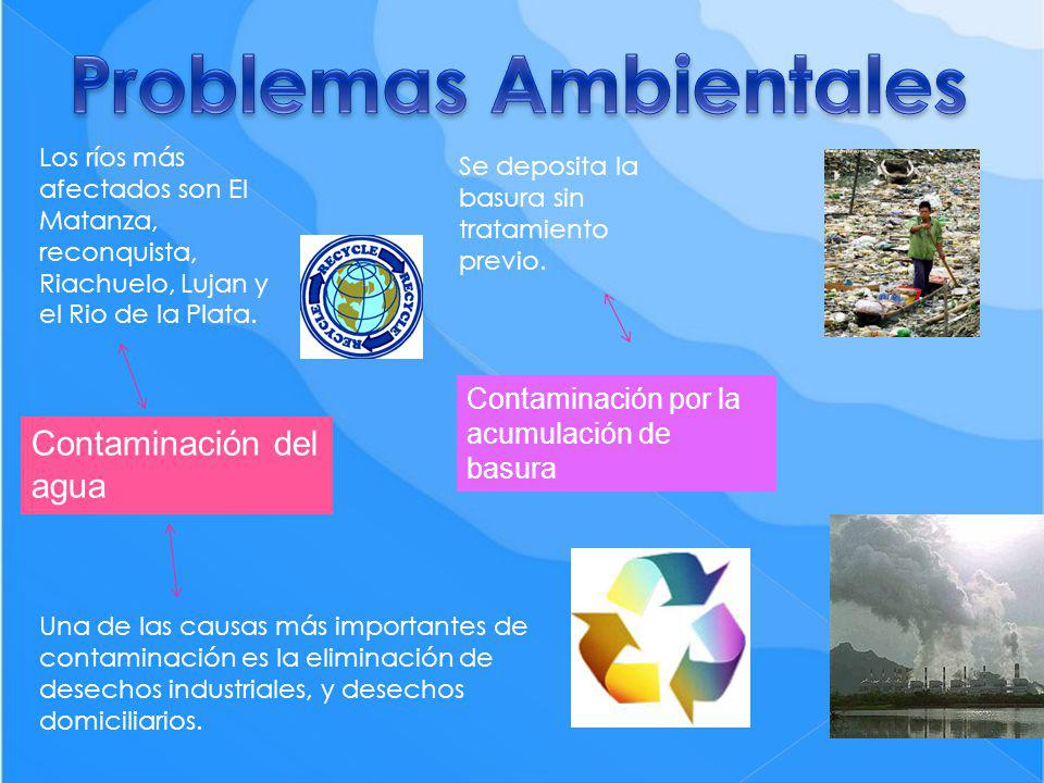 Contaminación del agua Los ríos más afectados son El Matanza, reconquista, Riachuelo, Lujan y el Rio de la Plata. Una de las causas más importantes de