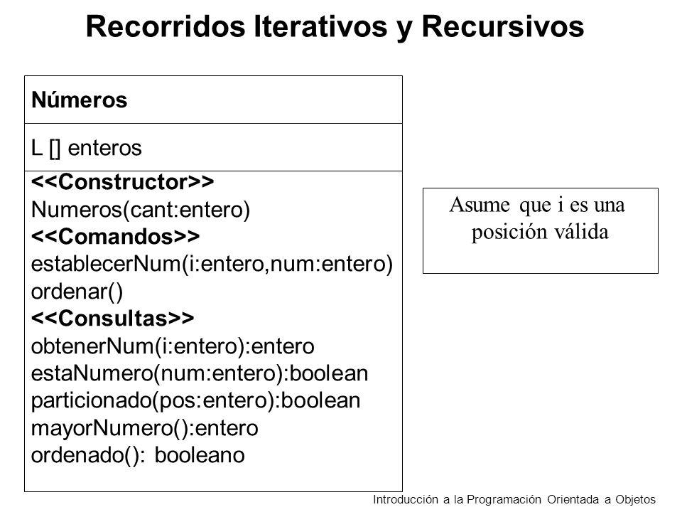 Recorridos Iterativos y Recursivos Introducción a la Programación Orientada a Objetos estaNumero(num) retorna verdadero si y solo sí L[i]=num para algún i tal que 0<=i<L.length mayorNumero() retorna num tal que num = L[i] y L[i]>=L[j] para 0<=i<L.length t 0<=j<L.length ordenado() retorna verdadero si solo sí L[i]<=L[i+1] para 0<=i<L.length-1 parcicionado(pos:entero) decide si L[i] L [pos] para pos<j<L.length ordenar() reacomoda los elementos de modo que queden ordenados en forma creciente.